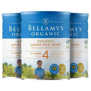 【支持購物卡】3罐*澳大利亞 貝拉米 BELLAMYS 4段奶粉 3歲以上 900g/罐