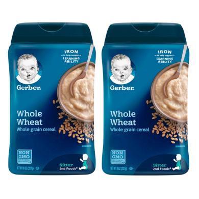【支持购物卡】【2盒】美国嘉宝Gerber全麦米粉2段227G