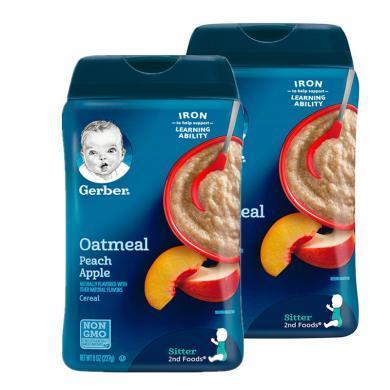【支持購物卡】【2盒】美國嘉寶Gerber蘋果蜜桃燕麥米粉2段 227g