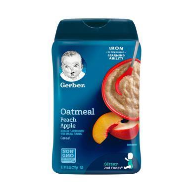 【支持购物卡】美国嘉宝Gerber苹果蜜桃燕麦米粉2段 227g