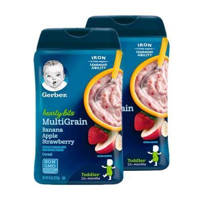 【支持购物卡】【2盒】美国嘉宝Gerber香蕉苹果草莓米粉4段227g