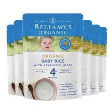 6袋*澳洲贝拉米有机婴儿米粉米糊宝宝辅食(适合4月+宝宝) 原味125g【海外直邮】