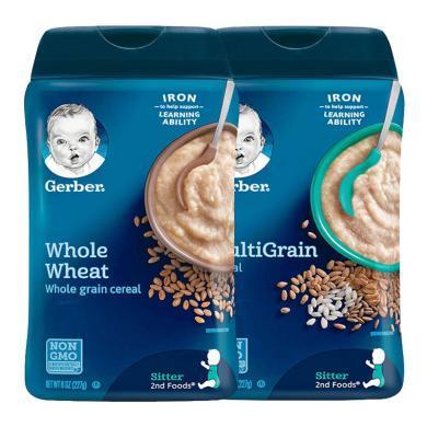 【支持購物卡】2盒*美國嘉寶gerber營養米粉寶寶輔食嬰兒米糊含鐵 227G 2段全麥+2段混合谷物 香港直郵