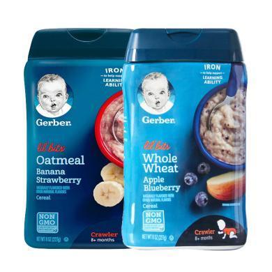 【支持購物卡】2盒*美國嘉寶gerber營養米粉寶寶輔食嬰兒米糊含鐵 227G 3段草莓香蕉+3段蘋果藍莓 香港直郵