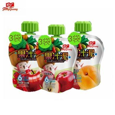 方廣果汁泥103克*9支 (清香蘋果4支,什錦水果2支,紅棗雪梨3支)  更多口味 更多美味 嬰兒輔食 寶寶果泥