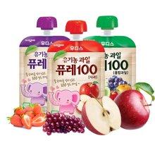 【韩国】日东福德食 婴幼儿营养果泥80g*3袋  组合(葡萄、混合水果、苹果)