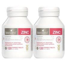 2瓶装 澳洲Bio Island 佰澳朗德儿童补锌嚼片增强免疫力120片