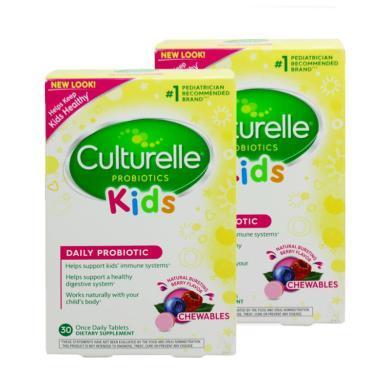 【支持购物卡】【2盒】美国Culturelle for kids康萃乐儿童LGG益生菌水果味咀嚼片30粒(3岁以上)