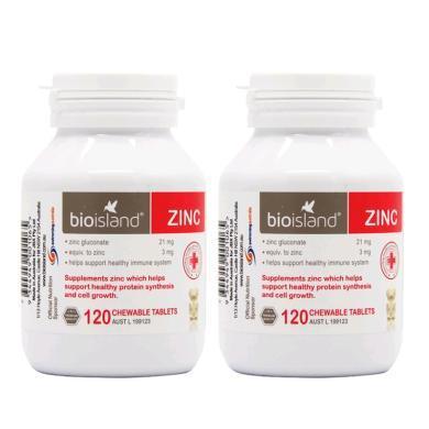 【支持購物卡】【2瓶】澳洲Bio Island佰澳朗德 嬰幼兒補鋅咀嚼片 120粒/瓶