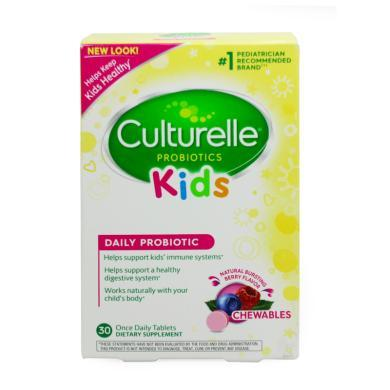 美國Culturelle for kids康萃樂兒童LGG益生菌水果味咀嚼片30粒(3歲以上)