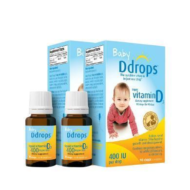 【支持购物卡】【2瓶】 Ddrops 婴儿维生素d3滴剂 90滴补钙 2.5ml