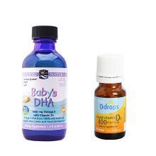 組合*美國挪威小魚魚油滴劑Nordic Naturals挪帝克深海鱈魚油滴劑 60ml + 美國Baby Ddrops嬰兒維生素 D3滴劑2.5ml【海外直郵】