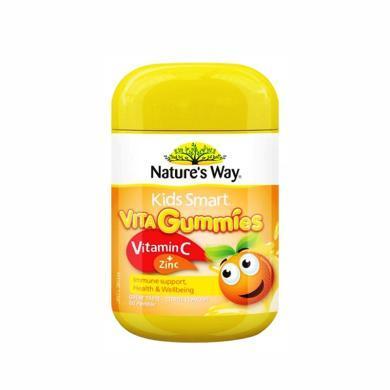 澳洲Natures Way佳思敏兒 橙味 VC+鋅軟糖 增強免疫 促進食欲 60粒 海外直郵