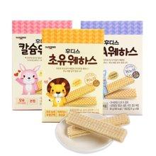 【韩国】日东福德食  婴幼儿威化饼干维夫饼干36g*3盒 组合 (加钙+初乳+DHA)