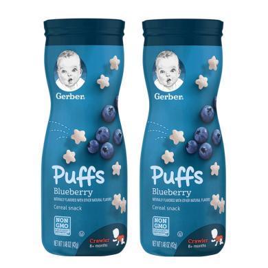【支持購物卡】【2盒】美國嘉寶Gerber泡芙餅干星星泡芙餅干42g 藍莓味
