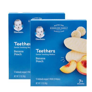 2盒*美國Gerber嘉寶磨牙餅米餅嬰兒磨牙棒餅干營養零食48g【香港直郵】
