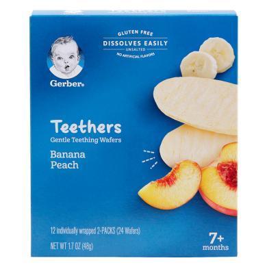 1盒*美國Gerber嘉寶磨牙餅米餅嬰兒磨牙棒餅干營養零食48g【香港直郵】