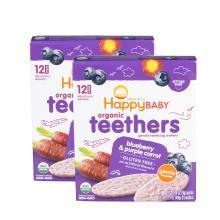 2盒*美国禧贝磨牙饼Happy Baby 有机婴幼儿辅食 蓝莓紫色紅萝卜磨牙棒饼干48g【香港直邮】
