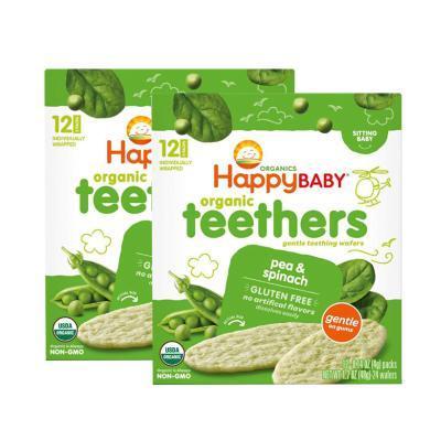 2盒*美國禧貝磨牙餅HappyBaby輔食零食寶寶有機 嬰兒幼兒磨牙米餅干高鈣豌豆菠菜48g【香港直郵】