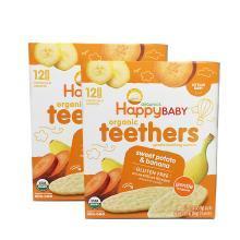 2盒*美国禧贝磨牙饼Happy Baby 有机婴幼儿辅食 甘薯香蕉 磨牙棒饼干48g【香港直邮】