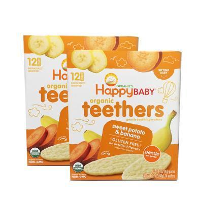 2盒*美國禧貝磨牙餅Happy Baby 有機嬰幼兒輔食 甘薯香蕉 磨牙棒餅干48g【香港直郵】
