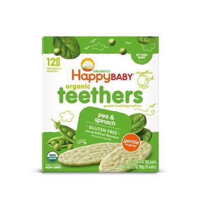 1盒*美國禧貝HappyBaby磨牙餅干輔食零食寶寶有機 嬰兒幼兒高鈣米餅豌豆菠菜48g【香港直郵】