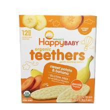 【香港直邮】美国禧贝Happy Baby 有机婴幼儿辅食 甘薯香蕉 磨牙棒饼干*1盒装