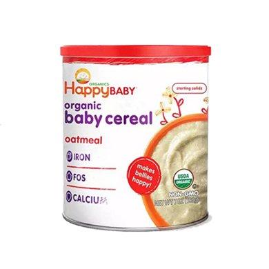 1罐*美國禧貝HappyBaby 2段米粉(紅色)有機輔食寶寶嬰兒2段燕麥營養鈣鐵米粉米糊198g【香港直郵】