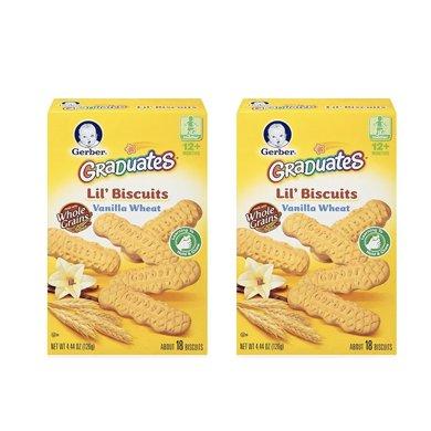2盒*美国嘉宝磨牙饼 Gerber香草曲奇磨牙棒谷物棒4段12个月以上126g【香港直邮】