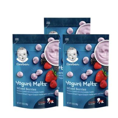 3袋*美國嘉寶小溶豆 Gerber混合莓果味酸奶小溶溶豆寶寶零食3段8個月以上28g【香港直郵】