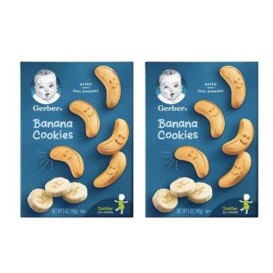 2盒*美国嘉宝饼干曲奇 Gerber婴幼儿香蕉曲奇饼干4段磨牙饼12个月以上142g【香港直邮】