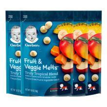 4袋装【香港直邮】嘉宝Gerber酸奶水果溶豆 8个月以上 婴儿宝宝辅食零食 热带果蔬溶豆28g/袋