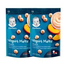 2袋装【香港直邮】嘉宝Gerber酸奶水果溶豆 8个月以上 婴儿宝宝辅食零食 蜜桃黄桃28g/袋