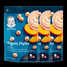 3袋装【香港直邮】嘉宝Gerber酸奶水果溶豆 8个月以上 婴儿宝宝辅食零食 蜜桃黄桃28g/袋