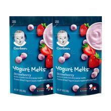 2袋装【香港直邮】嘉宝Gerber酸奶水果溶豆 8个月以上 婴儿宝宝辅食零食 草莓味28g/袋