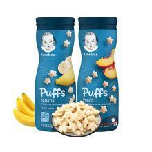 【支持購物卡】2瓶*美國嘉寶Gerber星星泡芙嬰兒童餅干零食品寶寶輔食 香蕉+蜜桃組合裝 香港直郵