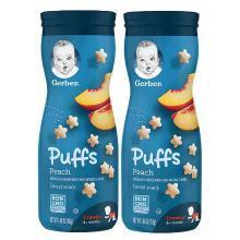 【支持購物卡】2瓶*嘉寶Gerber蜜桃黃桃星星泡芙 嬰兒兒童餅干零食幼兒食品寶寶輔食42g/瓶 香港直郵