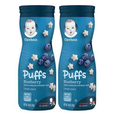 【支持購物卡】2瓶*美國嘉寶Gerber藍莓星星泡芙嬰兒兒童餅干零食幼兒食品寶寶輔食42g/瓶 香港直郵