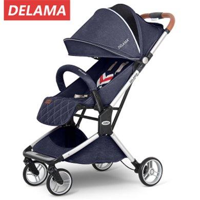 英国Delama德拉玛升级款婴儿推车可坐?#21830;沙?#36731;便携折叠宝宝手推车高景观
