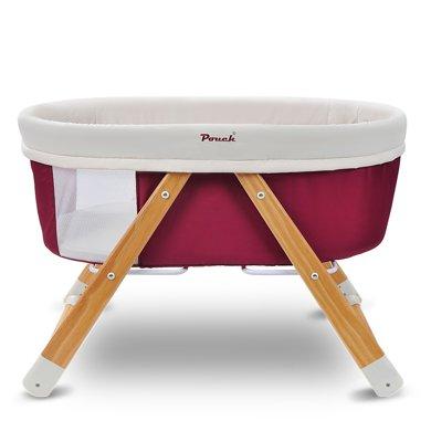 德國Pouch帛琦H26嬰兒床實木寶寶床環保搖籃床多功能便攜式可折疊旅行搖床 天然原木 睡床搖床二合一0-5個月嬰兒適用