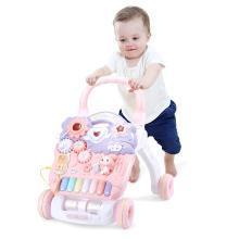 英莱儿 婴儿学步车粉色 宝宝手推车可增高调速儿童助步车带音乐灯光多功能益智玩具推坐两用钢琴款xbc19