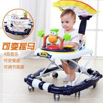 英莱儿 婴儿童宝宝学步车6/7-18个月多功能防侧翻手推可坐带音乐摇马车 xbc41