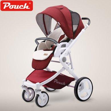 德国Pouch帛琦P37婴儿推车高景观可坐?#21830;?#21452;向儿童手推车可折叠轻便婴儿车0-3儿童适用