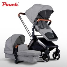 pouch 轻奢大轮双向高景观可坐躺折叠宝宝儿童车