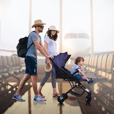 英莱儿 婴儿推车可坐?#21830;沙?#36731;便携高景观可折叠可变拉杆箱婴儿车stc32