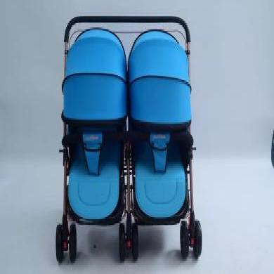 華嬰雙胞胎手推車 雙人嬰兒車可坐可躺折疊換向雙人 新生兒童車