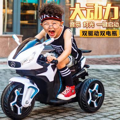 英萊兒 奔馳兒童電動摩托車男孩女寶寶三輪車雙驅小孩玩具汽車可坐人充電 etddc42