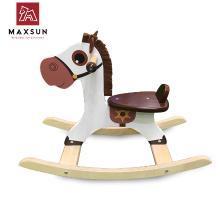 MAXSUN儿童木制摇马-宝宝早教木质玩具礼物幼儿木马摇摇椅