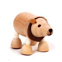 maxsun环保实木动物玩偶仿真关节动物模型儿童木制玩具家居装饰