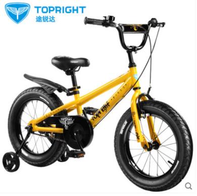 Topright途銳達酷尚高碳鋼兒童自行車粗輪超酷16寸18寸男孩寶寶腳踏單車6歲8歲10歲山地車童車